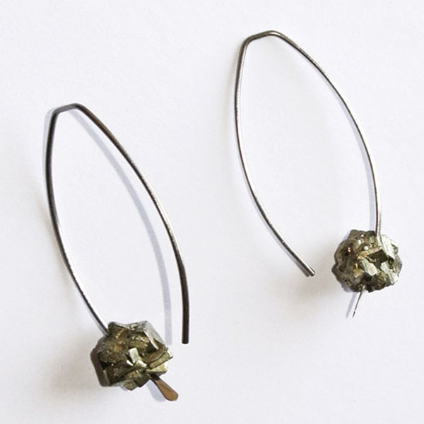 Titanium and Natural Pyrite Nugget Earrings.jpg